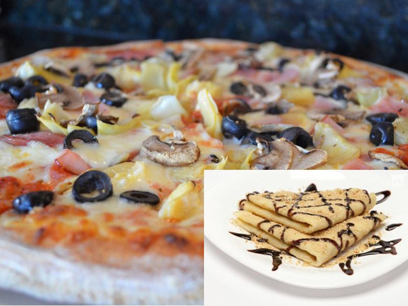 550 din. umesto redovne cene od 900 din. za dve pizze CAPRICCIOSA(23cm)+ dve porcije slatkih palačinki sa eurokremom u prijatnom ambijentu picerije Porto, Hadži Ruvimova 42 Novi Sad.  Kada ne znate scaronta Vam se jede, pizza Capricciosa je uvek pravi izbor! Pripremili smo Vam dupli užitak pa smo ponudu malo i zasladili palačinkama od eurokrema. Povedite Vama dragu osobu na doručak, ručak ili večeru i ulepscaronajte sebi dan u prijatnom ambijentu picerije Porto. Ponuda podrazumevadve pice Capricciose i dve porcije slatkih palačinki za dve osobe. Sastojci pice(23cm): pelat, sir, scaronunka i scaronampinjoni Slatke palačinke : eurokrem, plazma, toping, scaronlag _____________________ U saradnji sa Poscarontama Srbije uveli smo joscaron jedan način plaćanja (PostFin gde možete uplatiti VAUČERE svakim radnim danom kao i Subotom i Nedeljom (npr. poscaronte u Univerexportu do 20h ) i to BEZ PROVIZIJE-vaučer Vam stiže na mail nakon uplate automatski za 10 min.)! Dobro doscaronli i PRIJATNO!