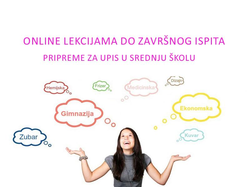 1000 din umesto 10.000 din za online LEKCIJE za upis u srednje scaronkole--USAVRScaronI SE! ndash Ogranak za online učenje, obuke i provere znanja --! POČNITE NA VREME SA PRIPREMAMA ZA UPIS U SREDNJU ScaronKOLU PRISTUP ONLINE LEKCIJAMA DO ZAVRScaronNOG ISPITA ZA SAMO1000 RSDUMESTO 10.000 RSD BROJ VAUČERA JE OGRANIČEN: 100 Svi učenici koji zavrscaroneosnovnu scaronkolui položezavrscaronniispitmogu da nastave scaronkolovanje kroz srednjoscaronkolsko obrazovanje. Pripremite Vascarone dete za polaganje zavrscaronnih ispita. Svo neophodno gradivo na jednom mestu. Po prvi put ove godine zadaci koji će biti na zavrscaronnom ispitu neće se nalaziti u zbirkama, koje je izdalo ministarstvo prosvete. Za rescaronavanje zadataka potrebno je dobro poznavanje gradiva. Kriterijumi za upis deteta u srednju scaronkolu Rangiranje učenika prilikomupisa u srednju scaronkoluvrscaroni se na osnovubodova ostvarenih uspehom tokom scaronkolovanjai bodova stečenih namaloj maturi. 1.Uspeh iz osnovne scaronkole - maksimalno 70 bodova 2.Test iz srpskog jezika - maksimalno 10 bodova 3.Test iz matematike - maksimalno 10 bodova 4.Kombinovani test - maksimalno 10 bodova Bodovi koji se dobijaju za uspeh računaju se na sledeći način: uspeh iz scaronestog razreda množi se sa četiri, uspeh iz sedmog razreda množi se sa pet, uspeh iz osmog razreda množi se sa pet, sabiranjem ova tri broja dobija se iznos bodova za uspeh u scaronkoli. Zavrscaronni ispit traje tri dana: Prvi dan ndash srpski, odnosno maternji jezik Drugi dan ndash matematika Treći dan ndash kombinovani test (zadaci iz biologije, fizike, hemije, istorije i geografije)  Lekcije koje se obrađuju iz srpskog jezika možete pogledati na linku: http://www.online.usavrsi.se/courses/srpski-jezik-knjizevnost/  Lekcije koje se obrađuju iz matematike možete pogledati na linku: http://www.online.usavrsi.se/courses/matematika/ Lekcije koje se obrađuju iz kombinovanog predmeta možete pogledati na linku: http://www.online.usavrsi.se/courses/kombinovani-pre
