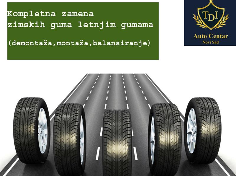 100 din-vaučer kojim ostvarujete popust od 30% u Auto centru TDI, Novi Sad!  - 950 din. umesto 1500 din. za Kompletnu zamenu zimskih guma letnjim gumama ( demontaža, montaža, balansiranje) u Auto centru TDI - ČELIČNE felne. - 1300 din. umesto 2000 din za kompletnu zamenu zimskih guma letnjim gumama ( demontaža, montaža, balansiranje) u Auto centru TDI - ALUMINIJSKE felne. Ono scaronto automobil čini bezbednim su sigurno ispravne gume. Uz koriscaronćenje usluga TDI auto centra, vascarone gume su u pravim rukama. Radimo montažu i demontažu, balansiranje točkova, popravku guma. Sve ono scaronto je vascaronem automobilu potrebno da biste u potpunosti uživali u vožnji. TDI Auto Centar Kisački put br. 1 Ugao Partizanske i Industrijske ulice preko puta OMV pumpe, bivscaroni Novotrans Telefon:066-310-834 021-310-8338